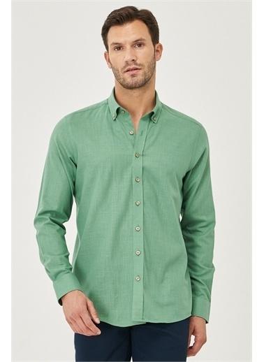 AC&Co / Altınyıldız Classics Tailored Slim Fit Dar Kesim Düğmeli Yaka %100 Koton Gömlek 4A2021200056 Haki